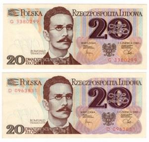 20 złotych 1982 - seria D i G SET 2 szt.