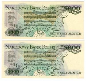 5000 złotych 1982 - seria BW i AR SET 2 szt.