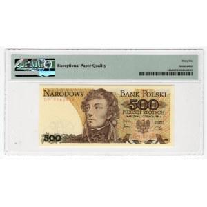Paczka 500 złotych 1982 - DM - PMG 66 EPQ - druk główny awersu odbity na rewersie