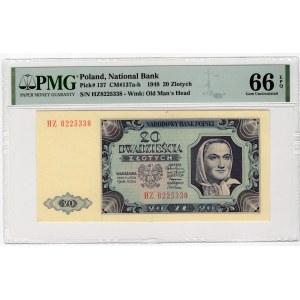 20 złotych 1948 - seria HZ - PMG 66 EPQ