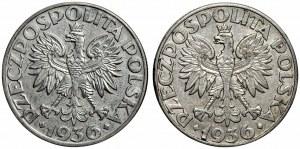 II RP - 5 złotych 1936 Żaglowiec - 2 sztuki