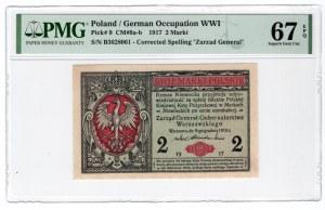2 marki 1916 - Generał seria B - PMG 67 EPQ - Wyśmienity
