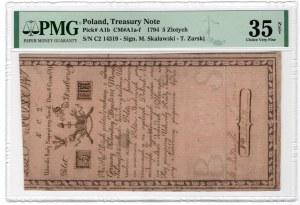 5 złotych 1794 - seria N.C.2. - PMG 35 NET - ODMIANA