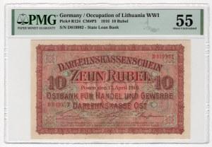 POSEN/POZNAŃ - 10 rubli 1916 - seria D - PMG 55
