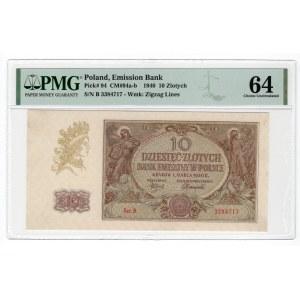 10 złotych 1940 - seria B - PMG 64 - rzadka seria