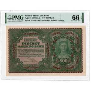 500 marek 1919 - II Serja R - PMG 66 EPQ