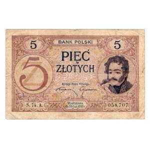 5 złotych 1919 - seria S.74.A.