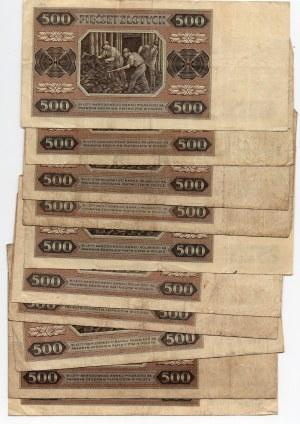 500 złotych 1948 - set 10 sztuk mix serii -
