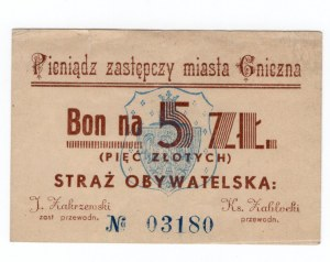 Gniezno - Bon na 5 złotych - pieniądz zastępczy