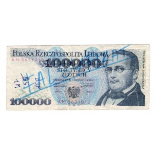 FALSYFIKAT 100.000 złotych 1990 - seria AM