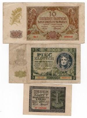 SET 10 złotych 1940/ 5 złotych 1941/ 1 złoty 1941 MIX serii