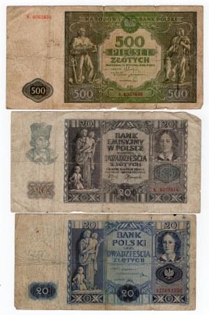 SET 500 złotych 1946/ 20 złotych 1940/ 20 złotych 1936 MIX serii