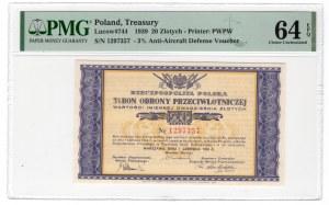 Bon Obrony Przeciwlotniczej, 20 zł 1939 - PMG 64 EPQ