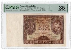 100 złotych 1932 - seria AA. - PMG 35