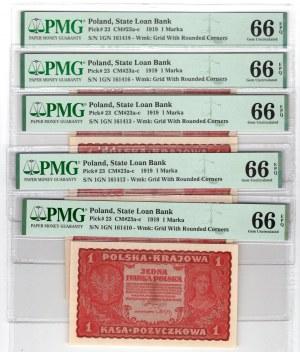SET 5 sztuk 1 marka 1919, - PMG 66 EPQ numery seryjne po kolei