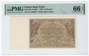 10 złotych 1929 - seria FF - PMG 66 EPQ
