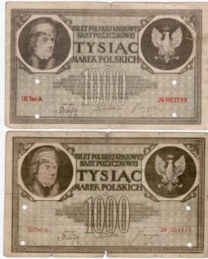 SET 3 szt. 1.000 marek polskich 1919 - Seria MIX