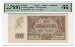10 złotych 1940 - seria L. - PMG 66 EPQ