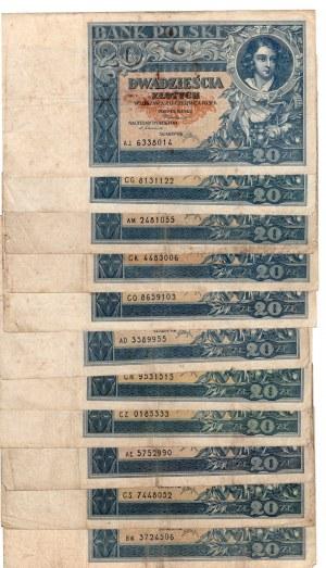 SET 11 sztuk 20 złotych 1931 - MIX serii