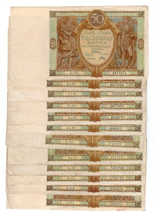 SET 12 sztuk 50 złotych 1929 - MIX serii