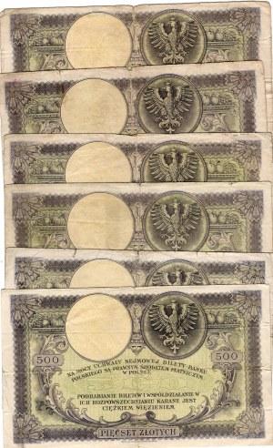 SET 6 sztuk 500 złotych 1919 - seria S.A.
