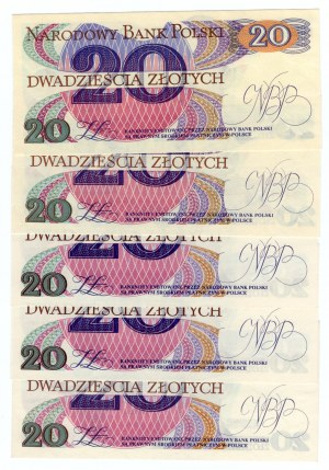 SET 5 sztuk 20 złotych 1982 - MIX serii
