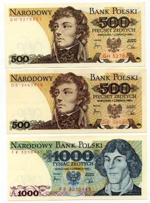 SET 3 sztuki - 500 złotych 1982 + 1000 złotych 1982 - MIX serii