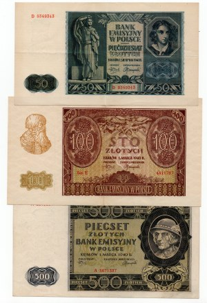 SET 3 sztuk - 500 złotych 1940/ 50 złotych 1941/ 100 złotych 1940
