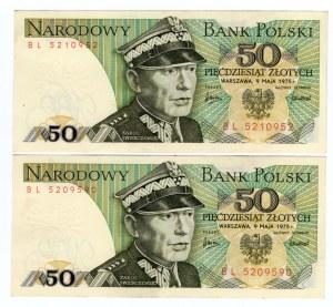 SET 2 sztuki - 50 złotych 1975 - seria BL