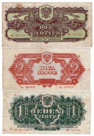 SET 3 sztuki 1złoty+ 2 złote+ 5 złotych 1944