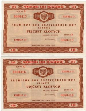 Premiowy Bon Oszczędnościowy 500 złotych emisja 7. - 1971r 2 sztuki