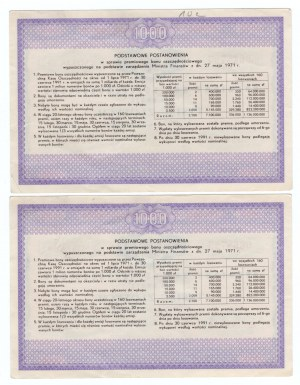 Premiowy Bon Oszczędnościowy 1000 złotych emisja 09. - 1971r - 2 sztuki