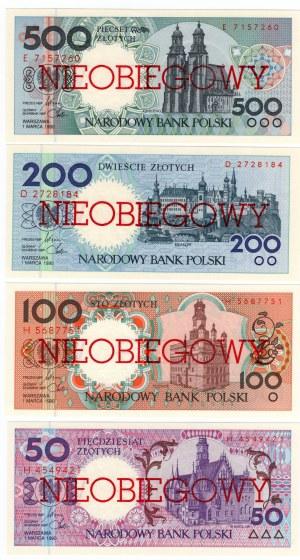 MIASTA POLSKIE, kompletny zestaw dziewięciu banknotów 1, 2, 5, 10, 20, 50, 100, 200, 500 złotych emisji 1 marca 1990 , NIEOBIEGOWY