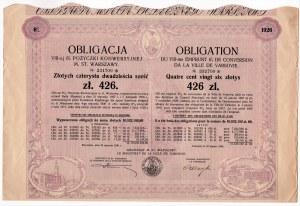 6% pożyczka konwersyjna m. st. Warszawy 1930 - obligacja 426 złotych