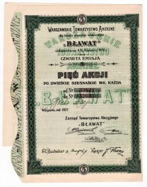 Warszawskie Towarzystwo Akcyjne dla handlu towarami włóknistymi BŁAWAT, Em.4, 5 x 216 mkp 1921
