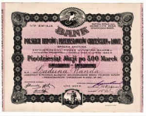 Bank Polskich Kupców i Przemysłowców Chrześcijan w Łodzi - imienna - Em.4, 50 x 500 marek 1922