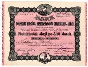 Bank Polskich Kupców i Przemysłowców Chrześcijan w Łodzi - imienna - Em.5, 50 x 500 marek 1923