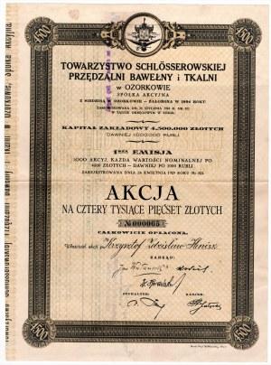 Towarzystwo Schlosserowskiej Przędzalni Bawełny i Tkalni w Ozorkowie - Em.1, Akcja na 4.500 złotych