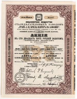 Akcyjne Towarzystwo Fabryki Stali HRABIA L. BROEL-PLATER w BLIŻYNIE - 125 rubli w złocie 1898