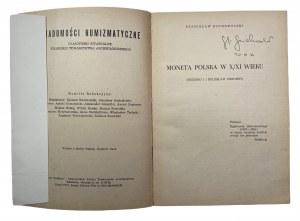 Stanisław Suchodolski - Moneta Polska w X/XI wieku - egzemplarz z autografem