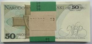 Paczka Bankowa 100 sztuk 50 złotych 1988 wraz z banderolą - seria HY