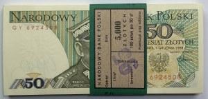 Paczka Bankowa 100 sztuk 50 złotych 1988 wraz z banderolą - seria GY