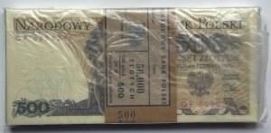 Paczka Bankowa 100 sztuk 500 złotych 1982 wraz z banderolą - seria GF