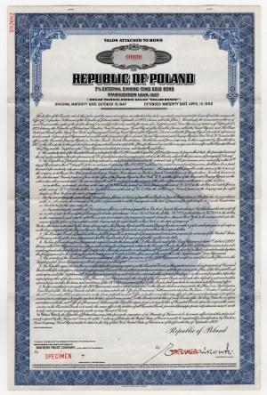 SPECIMEN - 7% pożyczka stabilizacyjna 1927 - talon do obligacji na 1.000$