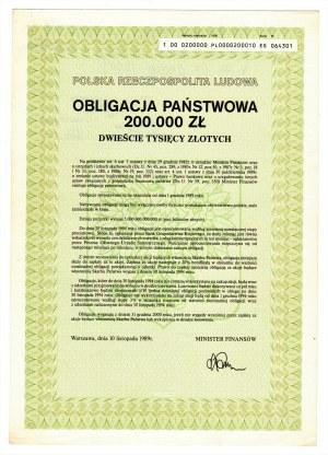 Obligacja Państwowa 200.000 złotych 1989