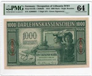 Kowno 1.000 marek 1918 - seria A 7 cyfr - PMG 64