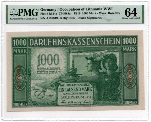 Kowno 1.000 marek 1918 - seria A - PMG 64