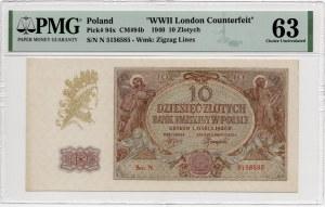 10 złotych 1940 - seria N - PMG 63