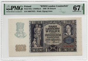 20 złotych 1940 - seria N - PMG 67 EPQ