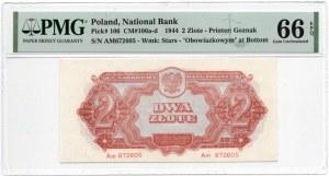 2 złote 1944 ...owym - seria Am - PMG 66 EPQ